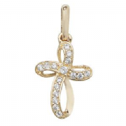 9ct Gold Extra Small Cubic Zirconia ribbon Cross Pendant